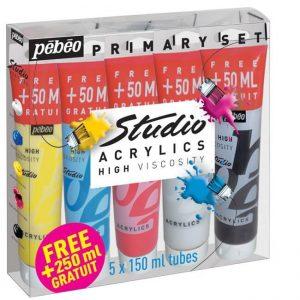Confezione colori acrilici Pebeo 5 tubi 150 ml